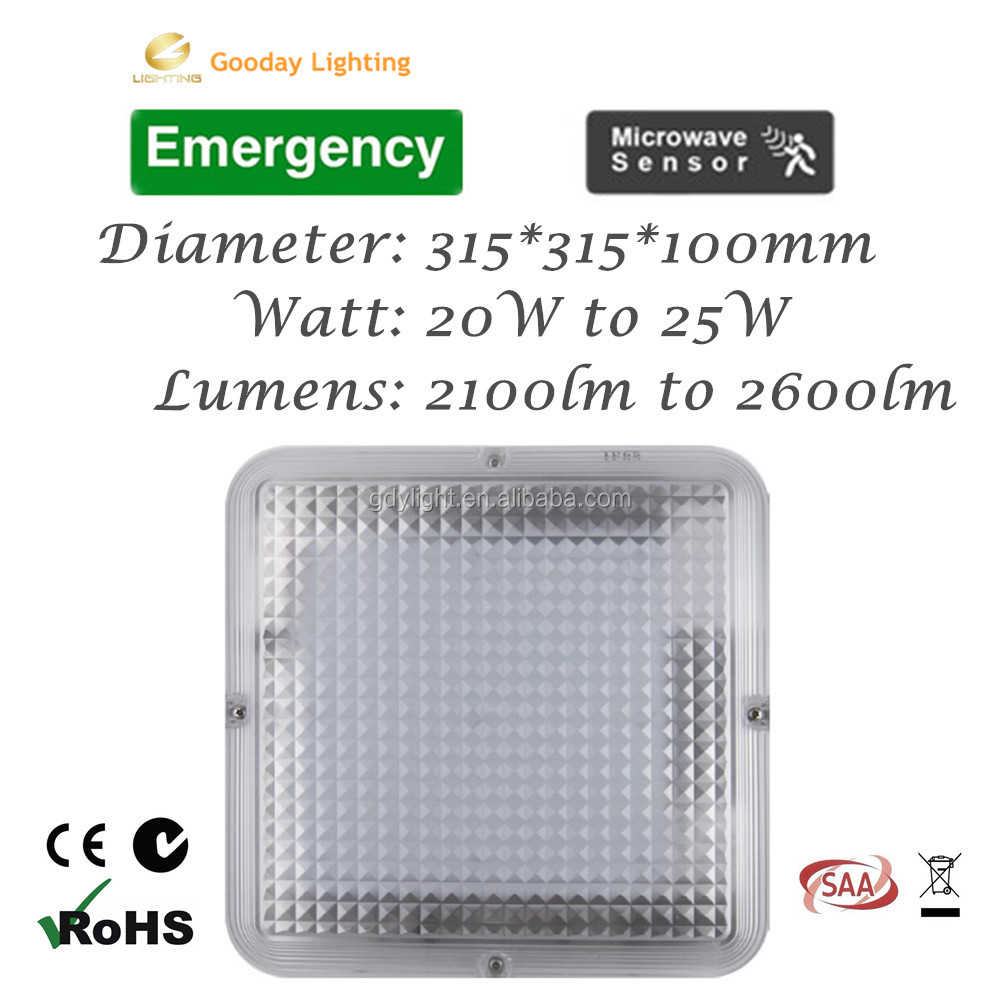 SAA IP65 20w Dimmable LED Indoor/Outdoor microwave sensor Oyster Light IP65