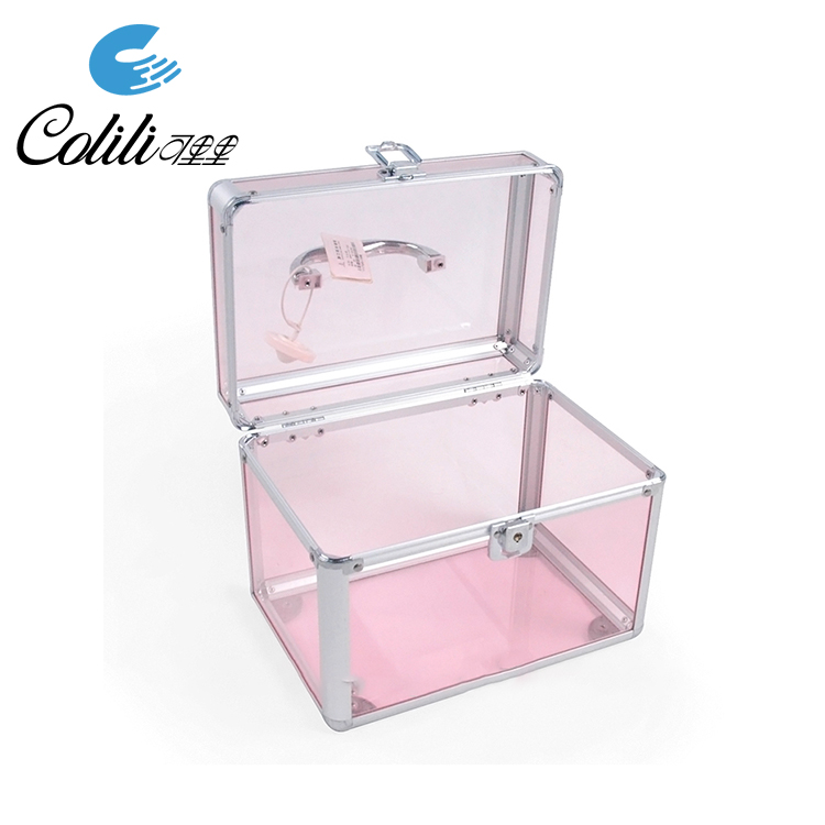 Transparent Acrylic Aluminum Beauty Box Storage Case with Handle