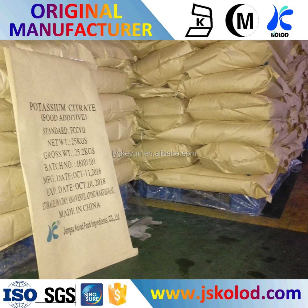 Potassium Citrate, Potassium Citric acid salt, high purity low impurity food grade and technical grade
