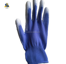 hand gloves anti-static white pvc dotted blue pu coated gloves