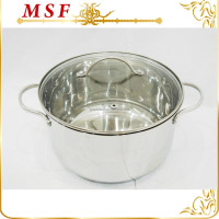 European style stainless steel hot pot casserole with lines decor and simple handles