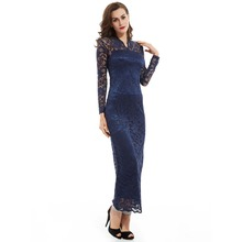 High quality fashion elegant lace long sleeve sexy V collar lady beautiful night wear prom dress
