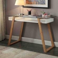 Natural style simple designs high glossy glass top wooden office writing table with bamboo legs