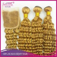 Yellow golden color jumbo braid how to start selling pure brazilian bouncy curl human hair weaving hair weave DHL delivery