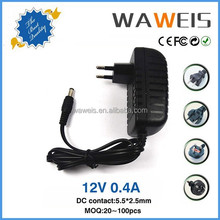 2016 Factory hot selling ac power adapter 12v 400ma input 100 240v ac 50/60hz