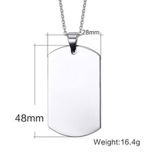 Blank Engravable Stainless Steel Metal Army Military Shape Logo ID Pet Dog Tag Pendant Chain Necklace for Men Dog