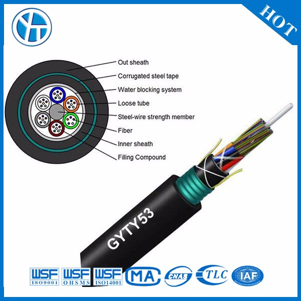 Power supply GYTY53 4 core singlemode fiber optic cable