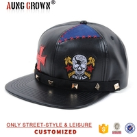 Colorful panels embroidery leather snapback hat custom strap