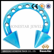 Fashion Blue Spike Horseshoe Circular Barbell eyebrow ring Piercing jewelry