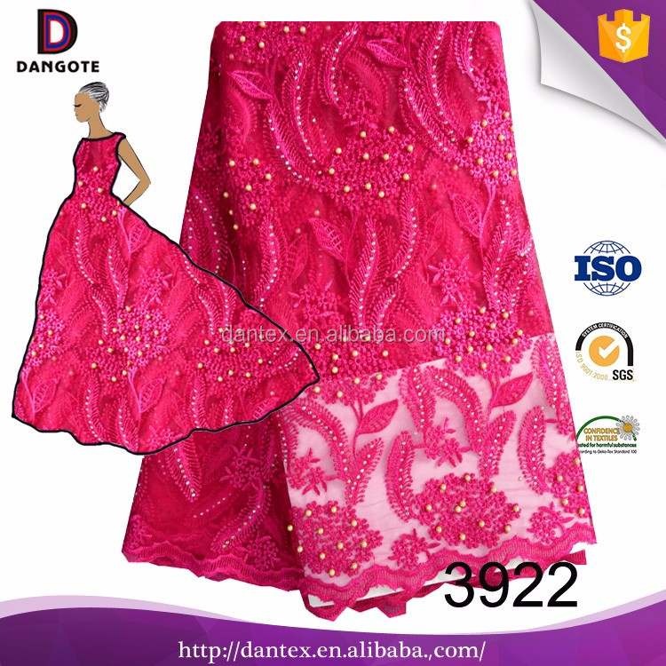2017 Wholesale Price Fushia Color African Lace Fabric Nigeria Aso Ebi Tulle Lace For Dress Christmas Sale 3922