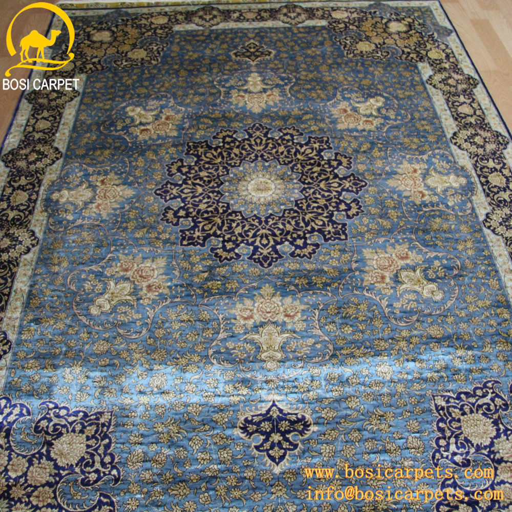 fonc bleu la main persan tapis de soie tapis. Black Bedroom Furniture Sets. Home Design Ideas