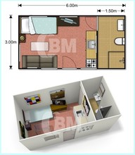 Low cost modular 20ft living container house