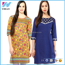 Clothing Apparel Cotton Om Ladies Printed Long Kurta Styles