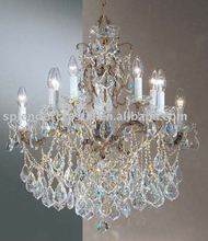 Antique Brass Finish Crystal Candlebra Chandelier Lighting Dressed with Cut Crystal