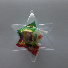 Hexagram Openable plastic transparent Christmas ball ornaments