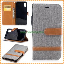 Pure color wallet flip stand jean leather phone cover case for iphone X