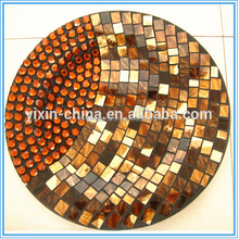 Dia 25cm Decorative Brown pearl Seashell Mosaic Glass Fruit Plate