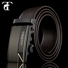 Guangzhou wholesale brown Italy no buckle men genuine leather belt