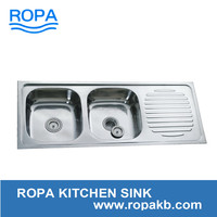 12046 stainless steel sink 1.2m length double bowl and drain board