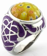 2012 hot sale stainless steel ring with stone R00525-2