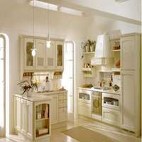 White Antique Design Modular Kitchen Cabinets