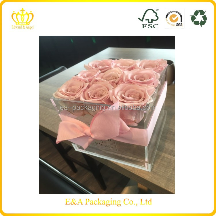 Custom made logo printing clear quare acrylic box, acrylic rose box, rose acrylic box