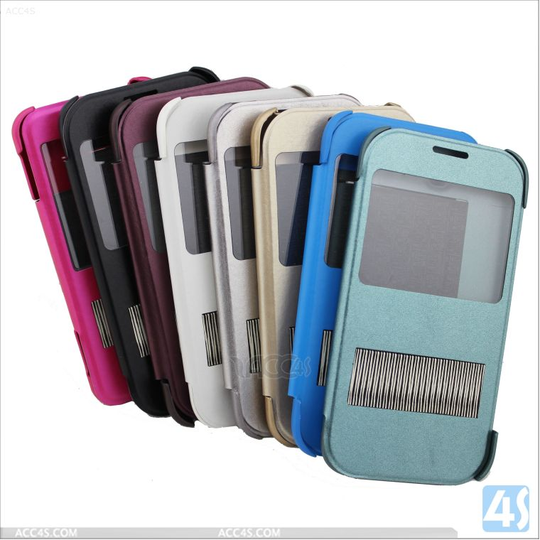 Luxury Luxurious Synthetic Leather Magnetic Flip Case Cover,Transparent Window,Protector Skin for Samsung S5