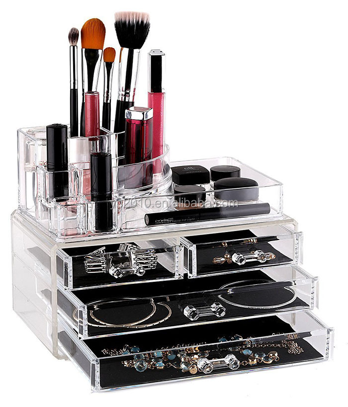 3 drawer Large clear acrylic makeup storage display plexiglass cosmetic makeup box