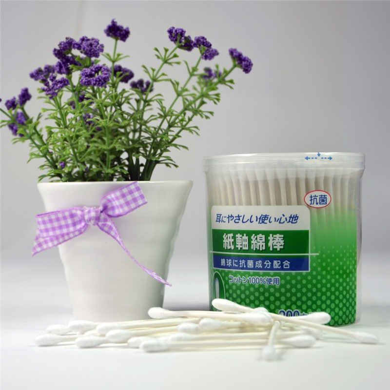 OEM Design Round Box Paper Stick Q Tips Japanese Cotton Swabs 200PCS