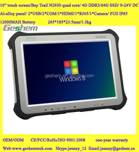 2015 Hot sale high quality rugged window industrial tablet pc with RS232