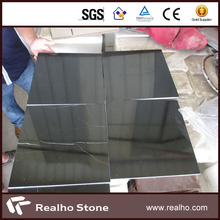 Polished Black Marble Tile With White Veins