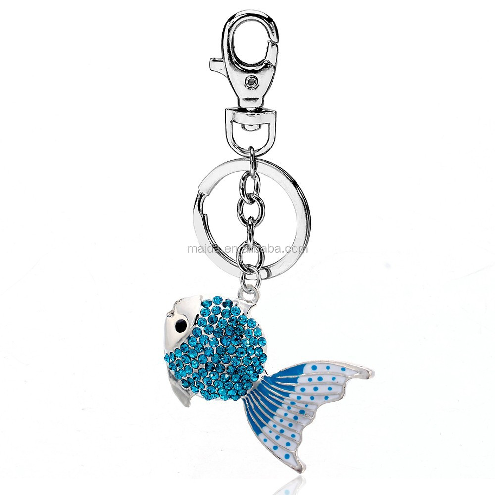 Latest key ring design fashion zinc alloy metal custom keychain fish key chain wholesale