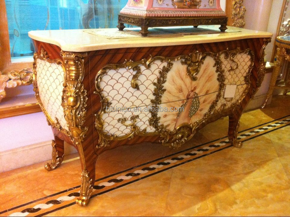 Luxury French Louis XV 24K Gold Plated Console Table/ European Antique Peacock Decorative Brass Console Cabinet, Side Table