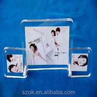 hot selling clear crystal acrylic custom desktop block photo frames for show