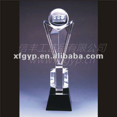 large clear crystal ball souvenir sport trophy cup