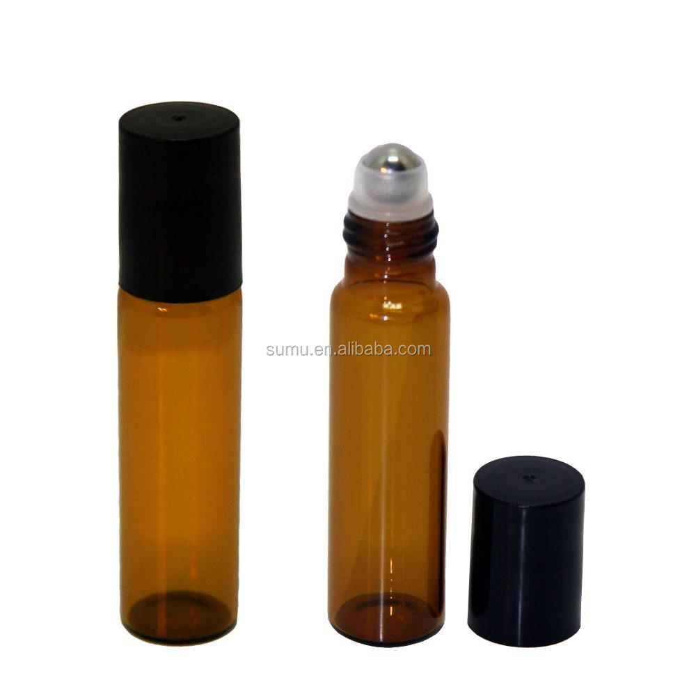 5 ml Black Plastic Cap Stainless Steel Roller Balls Glass Roll-on Bottles