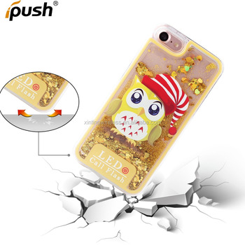 LED light Christmas gift quicksand mobile phone case For IPhone 7