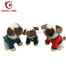 Stuff Animal Plush Pug Dog Toy With Bell and Clothing
