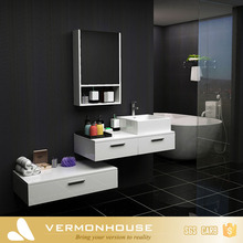 2017 Vermonhouse Knock Down Wood Lacquer Waterproof Italian Cheap Hotel Single Sink Bathroom Vanity