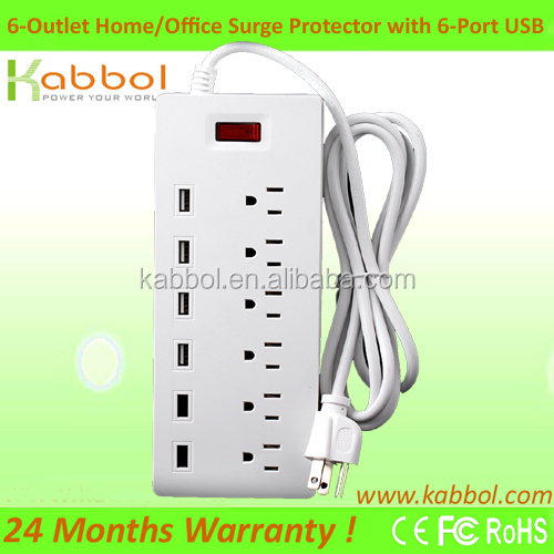 Universal Retractable Smart USB Power Strip AC 6 Outlets with 6 USB Ports Surge Protector for Motorola Turbo Droid for LG G4