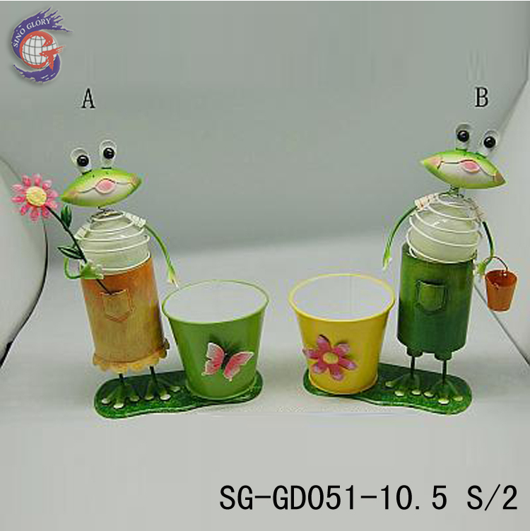 glow in dark frog with metal pen holder for table decor, office desk ornament