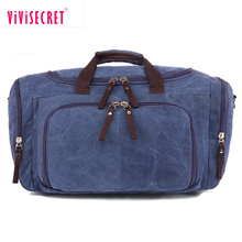 Oversized travel bag large vintage canvas weekend duffel bag leather overnight bag