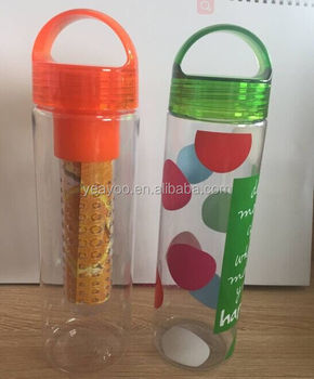 Straight body double wall TRITAN plastic clear custom design silicone soft straw outdoor sports water bottle with handle