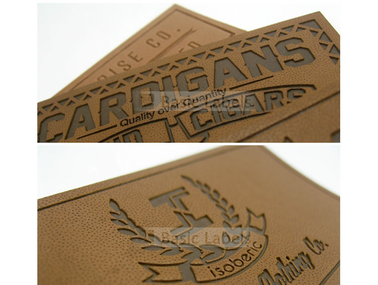 Custom PU jeans metal embossed logo on leather patch labels