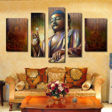 Custom HD Printed 5 Piece Canvas Art Buddha Painting Wall Pictures for Living Room Modern Canvas Wall