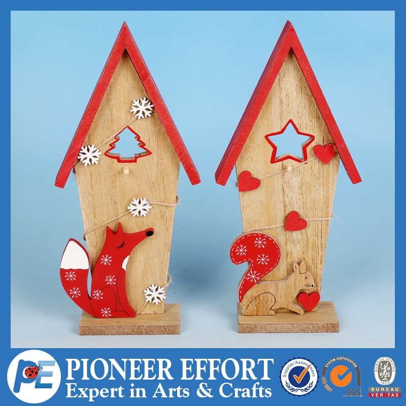 Wooden Christmas House Ornament