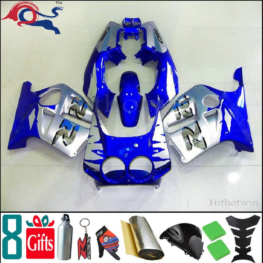 8Gifts+Injection molded silver cover blue for Honda 98-99 CBR250RR MC19 1988 1989 motorcycle Fairing