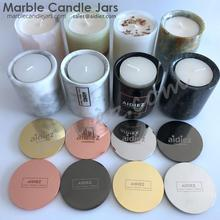 Marble candle holder jar with lid marble candle holder jar