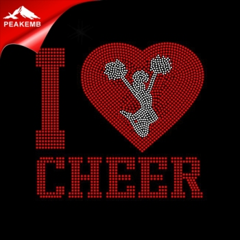 Custom made I love to cheer  wholesale rhinestone Applique for shirts