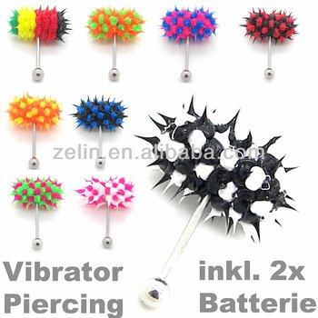 Silicone vibrator barbell tongue ring body piercing jewelry